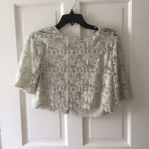 Grey glitter beaded and sequin crop top